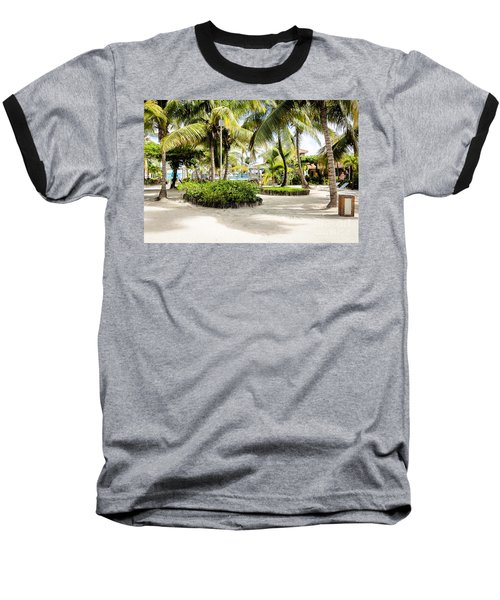 Tropical Courtyard Baseball T-Shirt by Lawrence Burry