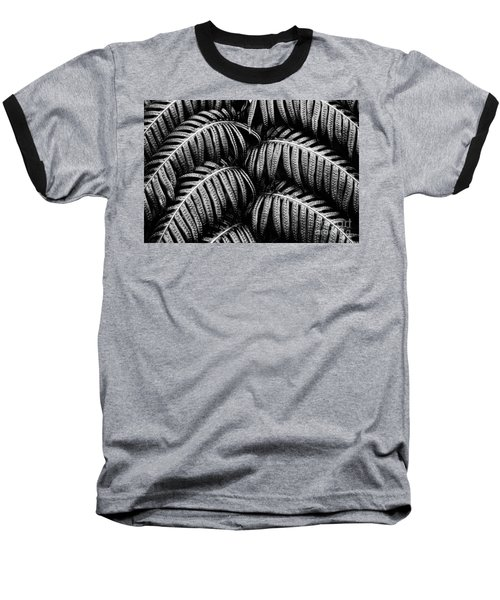Tropical Fern Black White Baseball T-Shirt