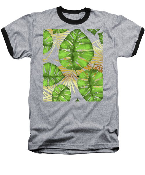 Tropical Haze Noir Green Monstera Leaves, Golden Palm Fronds On Black Baseball T-Shirt