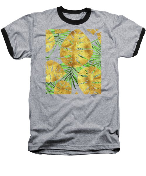 Tropical Haze Noir II Gold Monstera Leaves, Green Palm Fronds Baseball T-Shirt