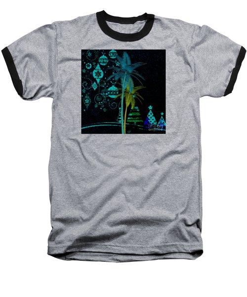 Baseball T-Shirt featuring the digital art Tropical Holiday Blue by Megan Dirsa-DuBois