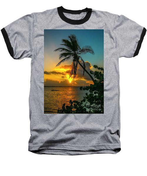 Tropical Lagoon Sunrise Baseball T-Shirt