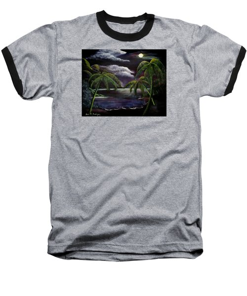 Tropical Moonlight Baseball T-Shirt by Luis F Rodriguez