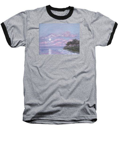 Baseball T-Shirt featuring the painting Tropical Moonrise by Kathleen McDermott