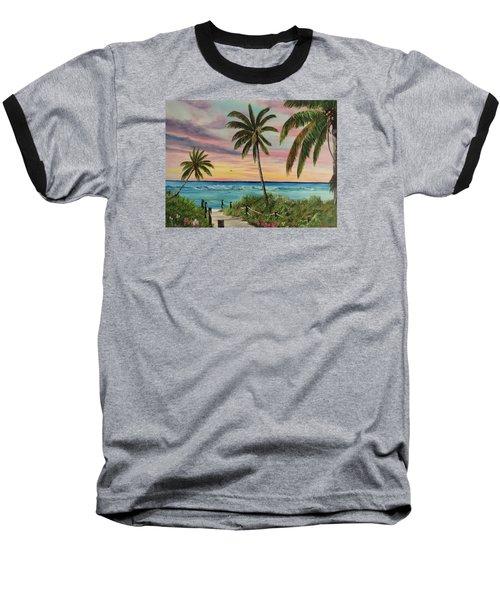 Tropical Paradise Baseball T-Shirt by Lloyd Dobson
