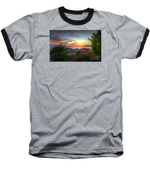 Tropical Paradise Sunset Baseball T-Shirt