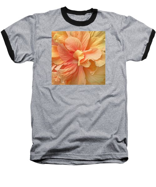 Tropical Peach Hibiscus Flower Baseball T-Shirt by Deborah Smith