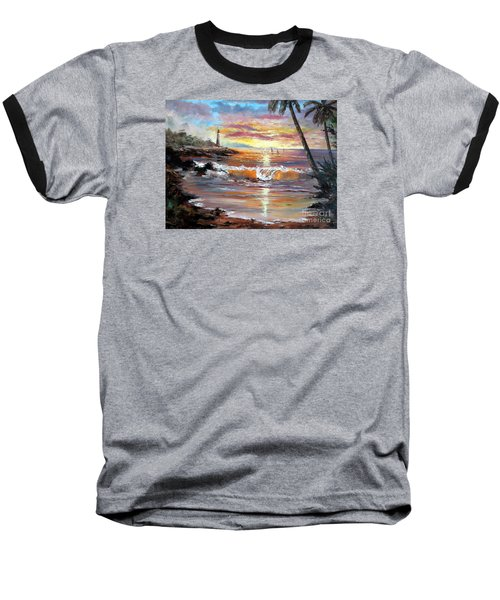 Tropical Sunset Baseball T-Shirt by Lee Piper