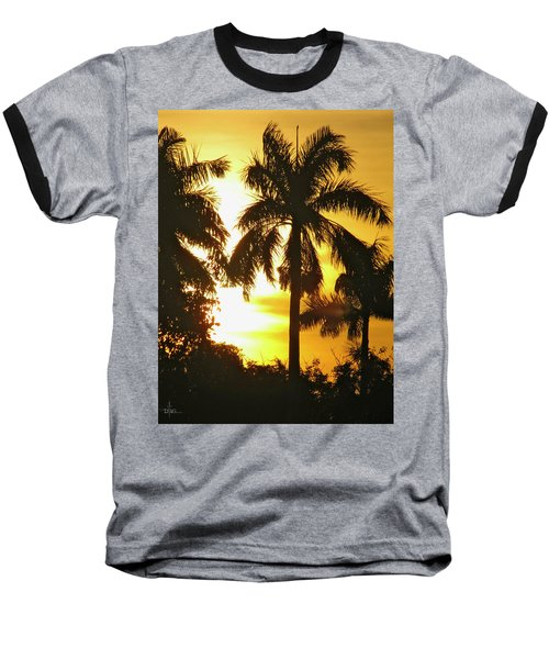 Tropical Sunset Palm Baseball T-Shirt