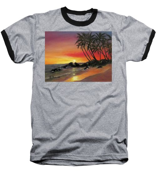 Baseball T-Shirt featuring the painting Tropical Sunset by Roseann Gilmore