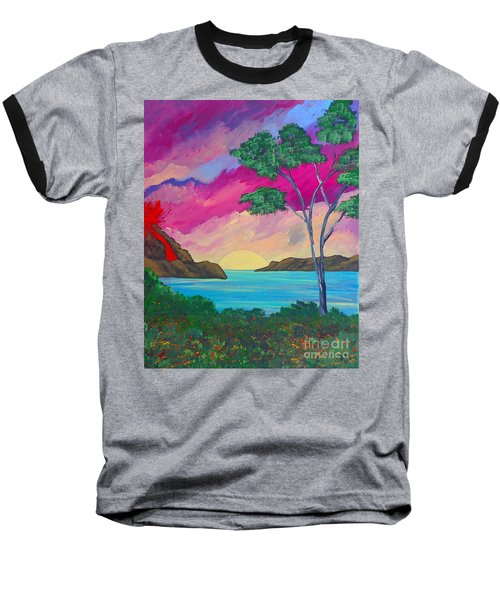 Tropical Volcano Baseball T-Shirt
