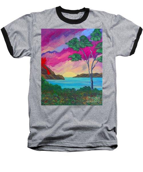 Tropical Volcano Baseball T-Shirt