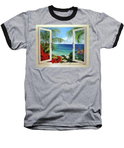Tropical Window Baseball T-Shirt by Katia Aho