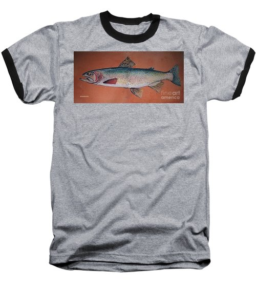 Baseball T-Shirt featuring the painting Trout by Andrew Drozdowicz