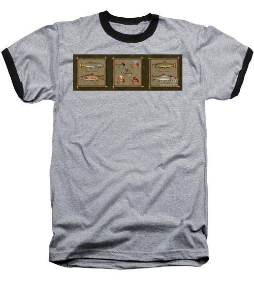 Baseball T-Shirt featuring the painting Trout Fly Panel by Jon Q Wright