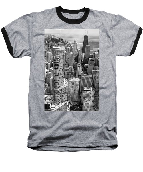 Baseball T-Shirt featuring the photograph Trump Tower And John Hancock Aerial Black And White by Adam Romanowicz