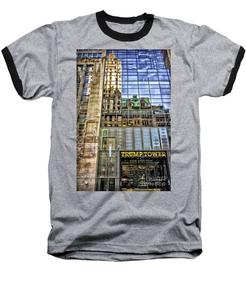 Baseball T-Shirt featuring the photograph Trump Tower With Reflections by Walt Foegelle