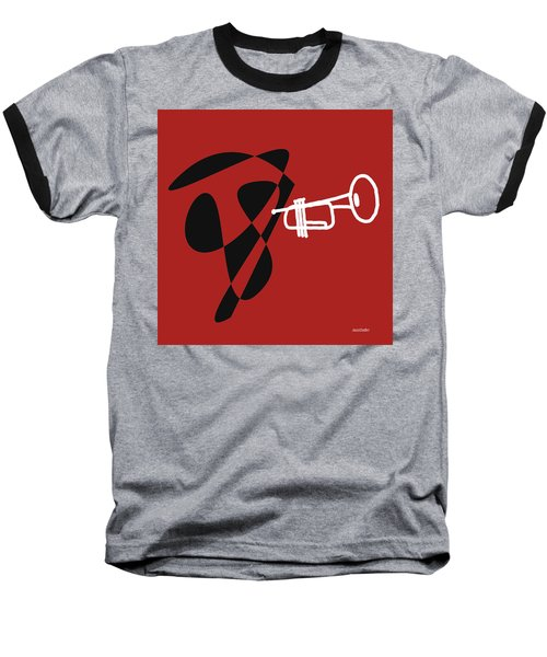 Trumpet In Orange Red Baseball T-Shirt by David Bridburg