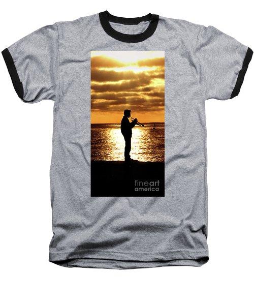 Trumpet Player Baseball T-Shirt by Linda Olsen