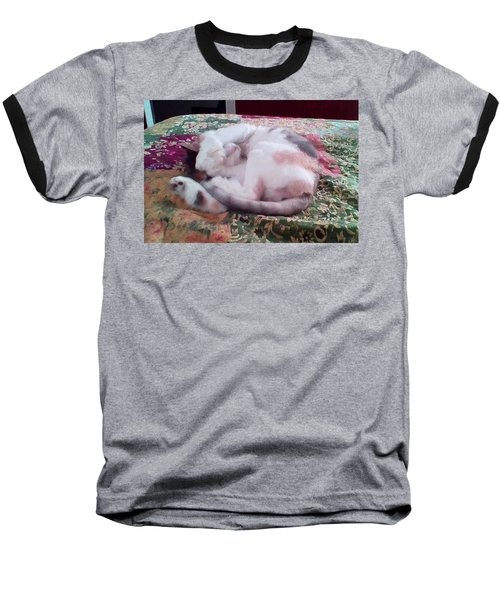 Baseball T-Shirt featuring the digital art Trying To Nap by Ginny Schmidt