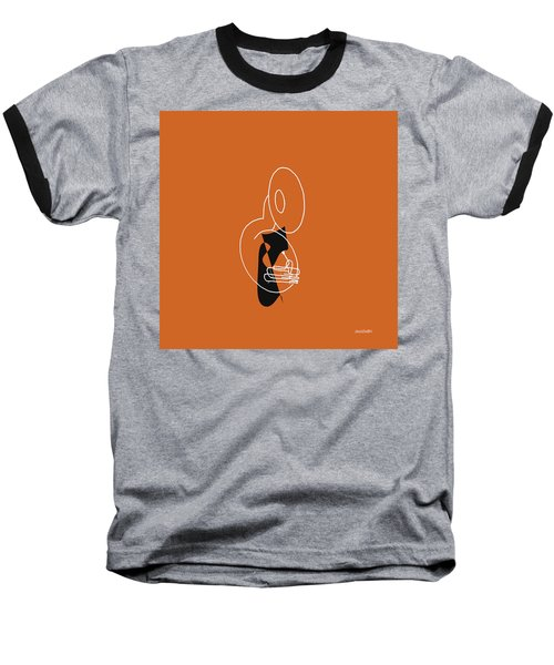 Tuba In Orange Baseball T-Shirt by David Bridburg