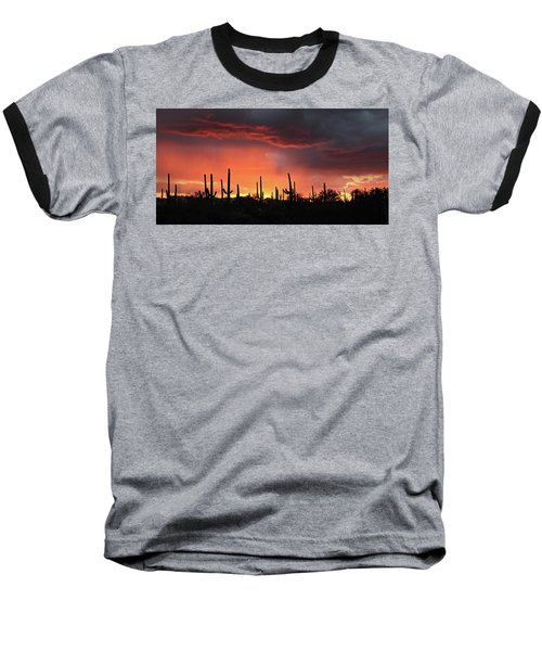 Tucson Sunset With Rain Baseball T-Shirt