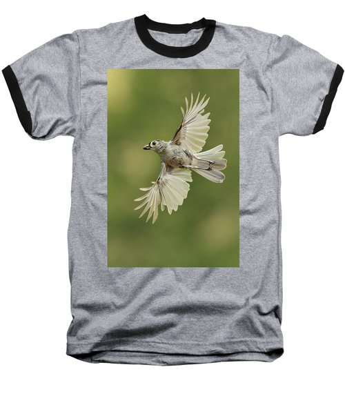 Tufted Titmouse In Flight Baseball T-Shirt