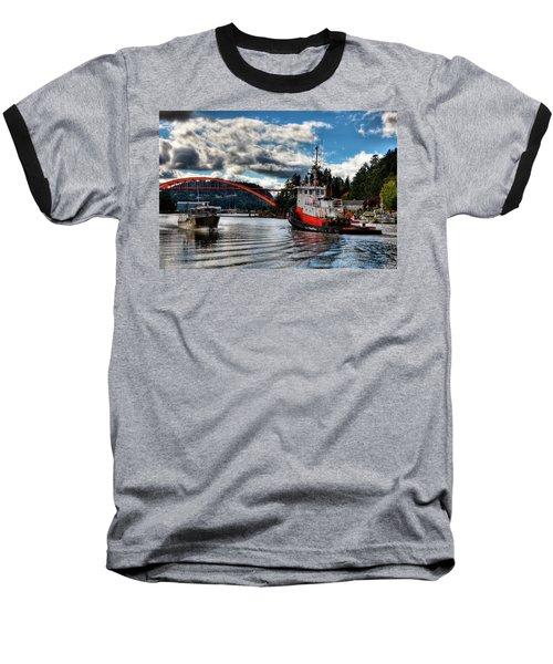 Tugboat At The Rainbow Bridge Baseball T-Shirt by David Patterson