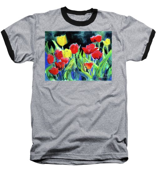 Baseball T-Shirt featuring the painting Tulip Bed At Dark by Kathy Braud