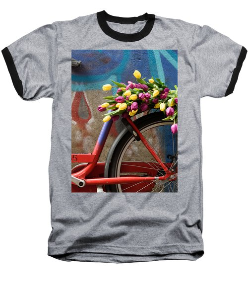 Baseball T-Shirt featuring the photograph Tulip Bike by Phyllis Peterson