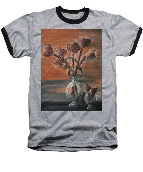 Tulip Flowers Bouquet In Two Round Water Filled Small Globe Shaped Vases On A Table Still Life Of Bo Baseball T-Shirt