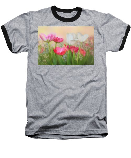 Baseball T-Shirt featuring the painting Tulip Garden by Bonnie Willis
