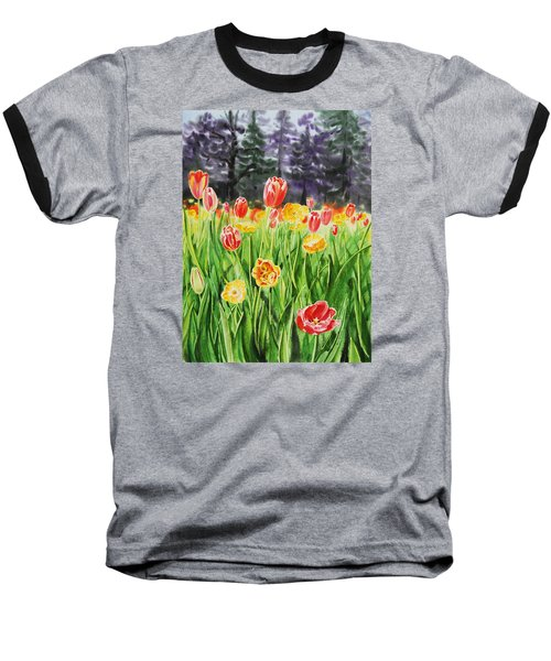 Baseball T-Shirt featuring the painting Tulip Garden In San Francisco by Irina Sztukowski