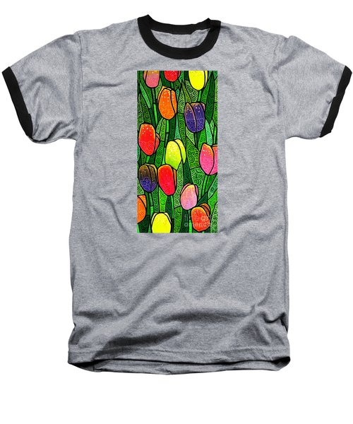 Baseball T-Shirt featuring the painting Tulip Glory by Jim Harris