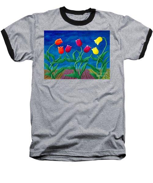 Tulip Tango Baseball T-Shirt by Rebecca Parker