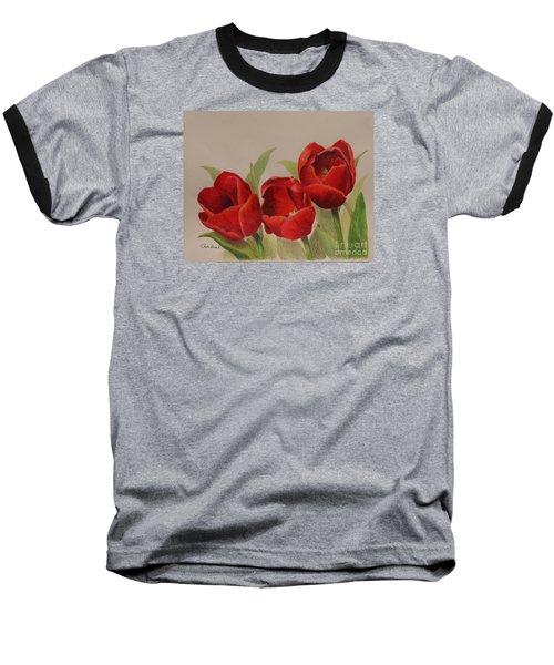 Tulip Trio Baseball T-Shirt by Phyllis Howard