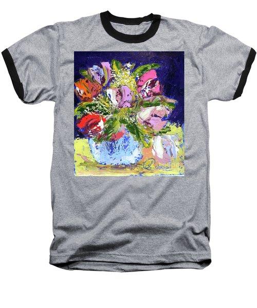 Tulips And Gypsophila Baseball T-Shirt by Lynda Cookson