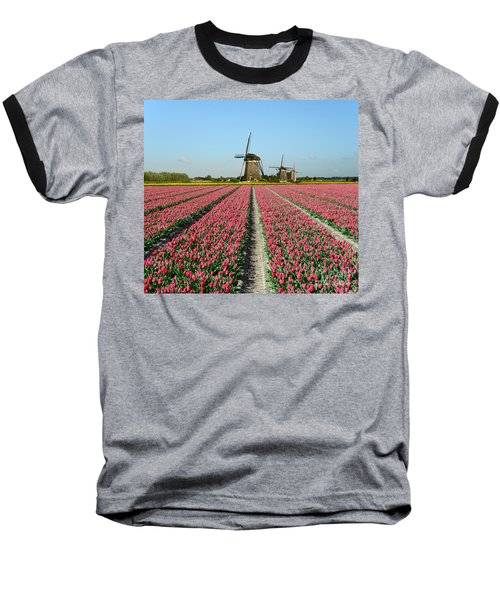 Tulips And Windmills In Holland Baseball T-Shirt by IPics Photography
