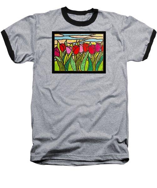 Tulips At Sunrise Baseball T-Shirt by Jim Harris