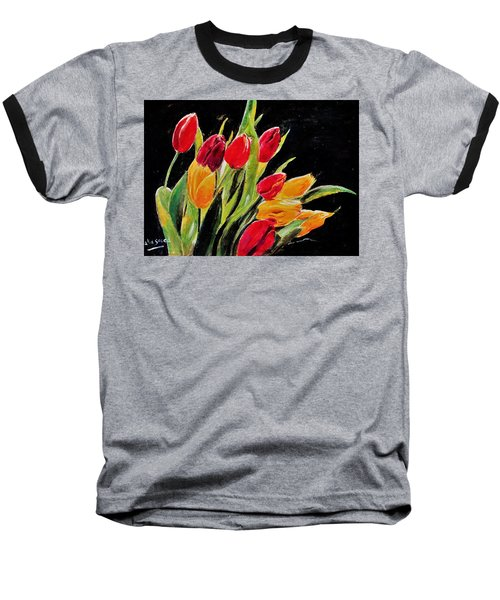 Tulips Colors Baseball T-Shirt by Khalid Saeed