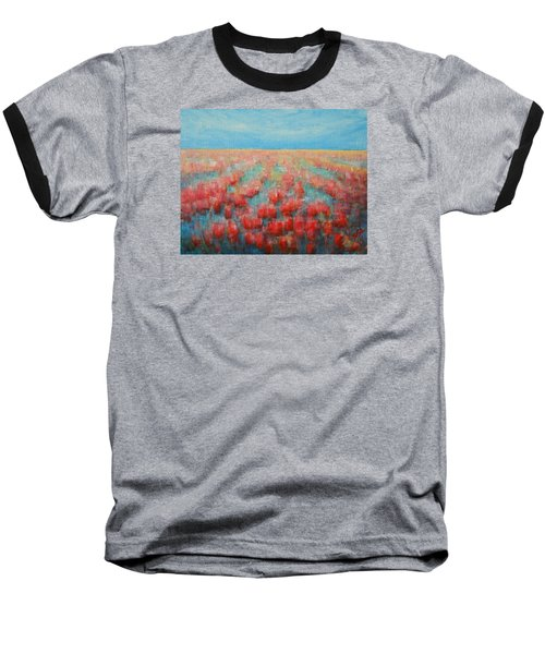 Baseball T-Shirt featuring the painting Tulips Dance Abstract 4 by Jane See
