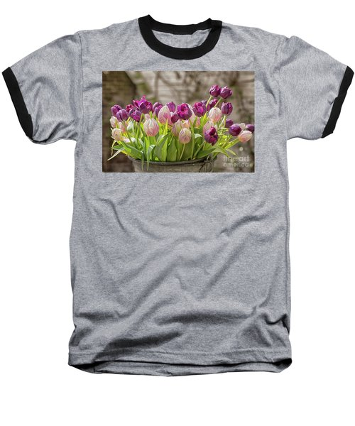 Baseball T-Shirt featuring the photograph Tulips In A Bucket by Patricia Hofmeester