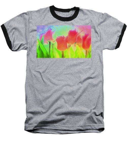 Tulips In Abstract 2 Baseball T-Shirt by Cathy Anderson