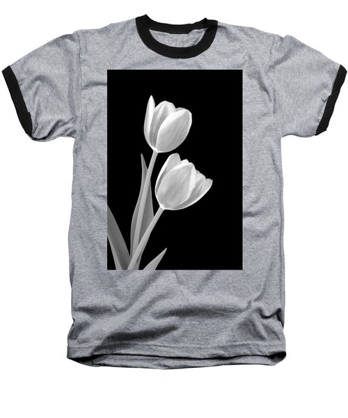 Tulips In Black And White Baseball T-Shirt