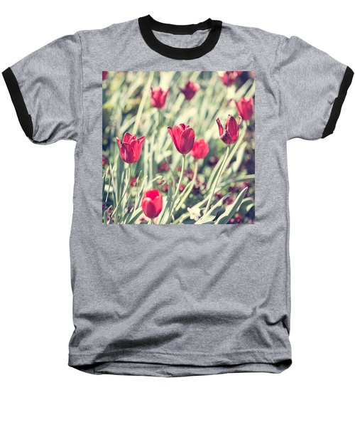 Baseball T-Shirt featuring the photograph Tulips In Red by Wade Brooks