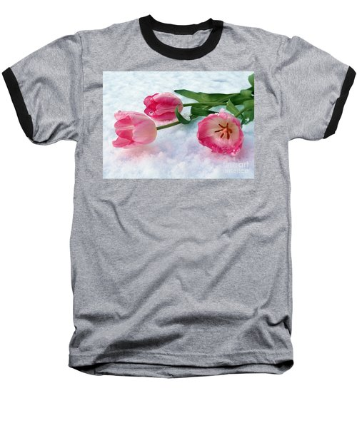 Tulips In Snow Baseball T-Shirt