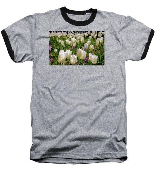 Tulips In White Baseball T-Shirt