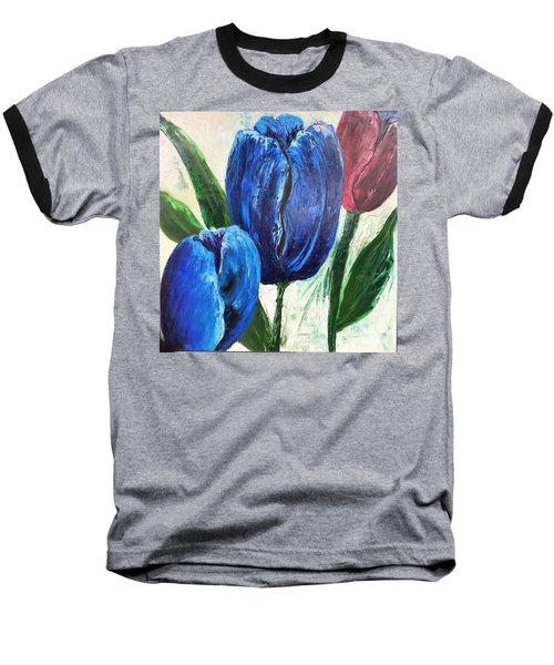 Tulips Large Oil Flowers Baseball T-Shirt