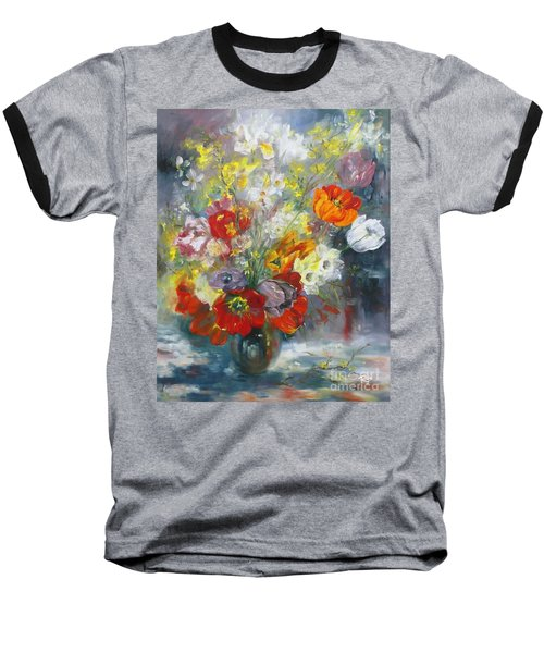 Tulips, Narcissus And Forsythia Baseball T-Shirt