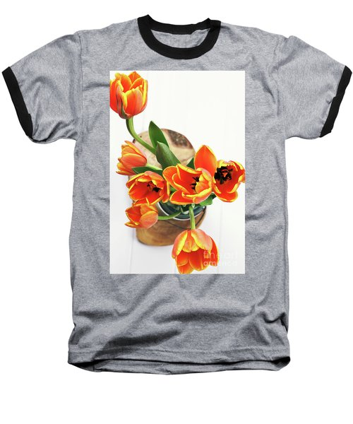 Baseball T-Shirt featuring the pyrography Tulips by Stephanie Frey